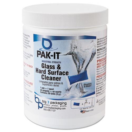 PAK-IT Glass & Hard-Surface Cleaner, Pleasant Scent, 20 PAK-ITs /Jar (BIG555120002240)