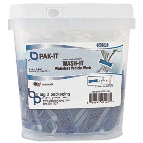PAK-IT Wash-It Waterless Vehicle Wash, Breezy Scent, 100 PAK-ITs/Tub (BIG555520003400)
