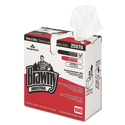 Georgia Pacific Professional Heavy-Duty Shop Towels, Cloth, 9 1/10 x 16 1/2, 100/Box (GPC25070)