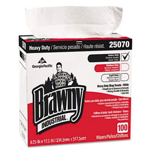 Georgia Pacific Professional Heavy-Duty Shop Towels, 9 1/8 x 16 1/2, 100/Box, 5 Boxes/Carton (GPC25070CT)