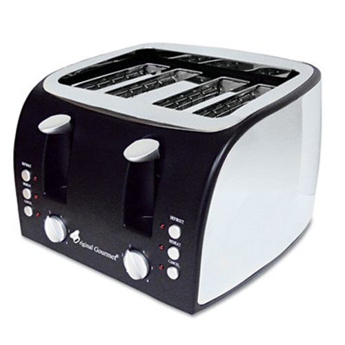 Coffee Pro 4-Slice Multi-Function Toaster with Adjustable Slot Width, Black/Stainless Steel (OGFOG8166)