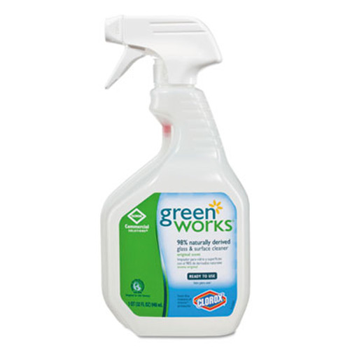 Green Works Glass & Surface Cleaner, Original, 32oz Smart Tube Spray Bottle (CLO00459)