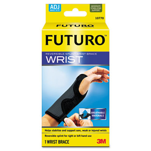 """FUTURO Adjustable Reversible Splint Wrist Brace, Fits Wrists 5 1/2""""- 8 1/2"""", Black (MMM10770EN)"""