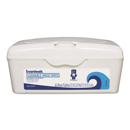 Boardwalk Flushable Moist Wipes, 7 x 5 1/4, Fresh Scent, 42/Tub, 12 Tubs/Carton (BWK357WT)
