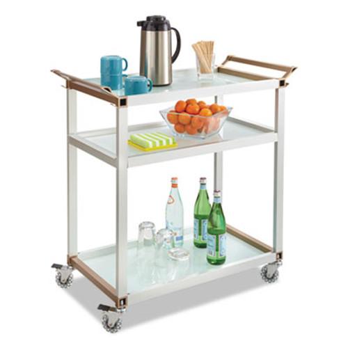 Safco Large Refreshment Cart, Three-Shelf, 32w x 16 3/4d x 35h, Silver (SAF8969SL)