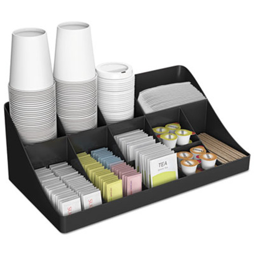 Mind Reader 11-Compartment Coffee Condiment Organizer, 18 1/4 x 6 5/8 x 9 7/8, Black (EMSCOMORGBLK)