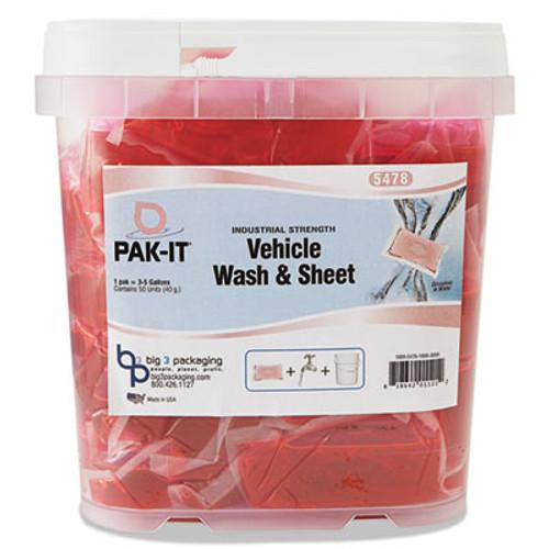 PAK-IT Vehicle Wash & Sheet, Pink, 50 PAK-ITs/Tub, 4 Tubs/Carton (BIG5478203200CT)
