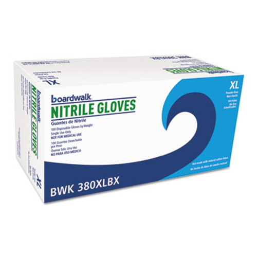 Boardwalk Disposable General-Purpose Nitrile Gloves, X-Large, Blue, 100/Box (BWK380XLBX)