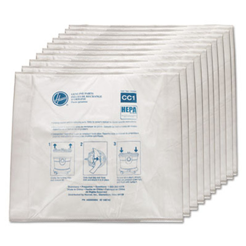 Hoover Commercial Disposable Vacuum Bags, Hepa CC1, 10/Carton (HVRAH10363)
