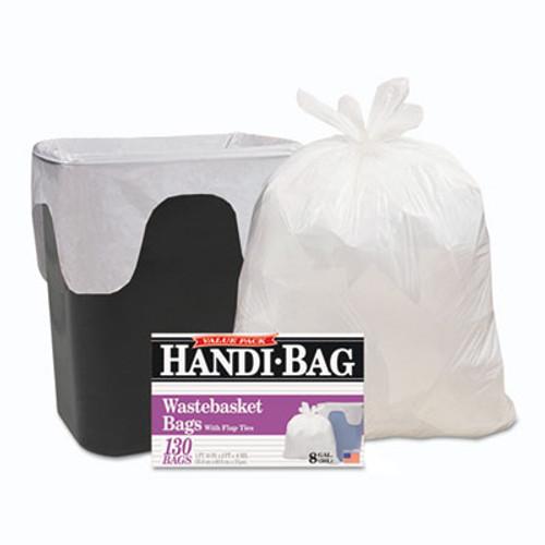 Handi-Bag Handi-Bag Super Value Pack, 8gal, 0.6mil, 22 x 24, White, 130/Box, 6 Box/Carton (WBIHAB6FW130CT)