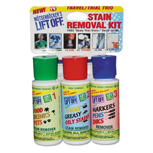 Motsenbocker's Lift-Off Stain Removal Kit, Lemon Scent, (3) 2oz Bottles with Wand & Guide, 4/Carton (MOT42101)