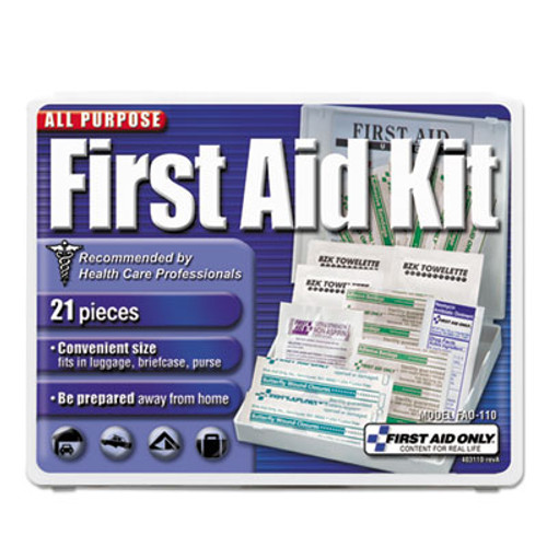 First Aid Only All-Purpose First Aid Kit, 21 Pieces, 4 3/4 x 3 x 1/2, Blue/White (FAO110)