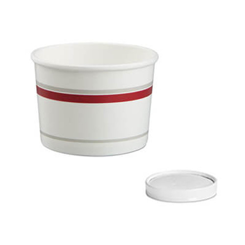 Chinet Paper Food Container with Vented Lid Combo, 16 oz, Polycoated, White/Red, 250/CT (HUH71865)
