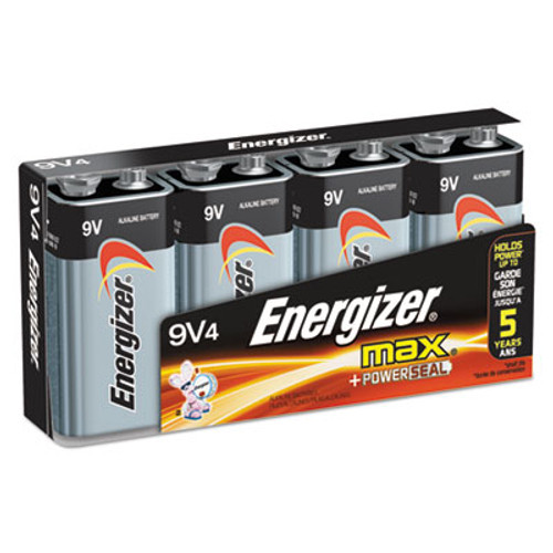 Energizer MAX Alkaline Batteries, 9V, 4 Batteries/Pack (EVE522FP4)