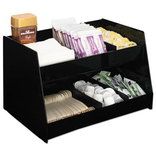Boardwalk Condiment Organizer, 14 1/3 x 10 1/2 x 9 2/3, 6-Compartment, Black (BWK99001)