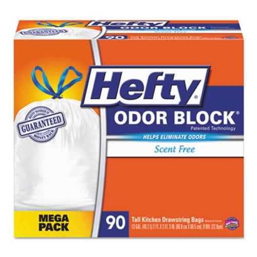 Hefty Odor Block Tall-Kitchen Drawstring Bags, 13gal, .9 mil, White, 90/Box (RFPE84574)