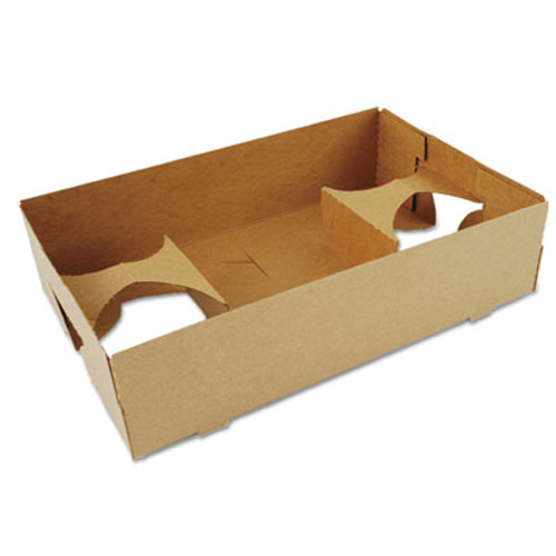 SCT 4-Corner Pop-Up Food and Drink Tray, 4-Cup, 10x6.5x2.5, Brown, 250/Carton (SCH0120)
