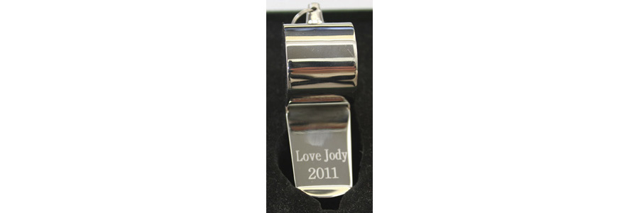 Our engraved Coach Whistle can be engraved on the back of the whistle with two lines of text.