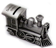 Personalized Pewter Finish Train Bank