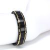 Novoa Men's Quad-Element Black Satin Stainless Steel Magnetic Bracelet With Gold Accents