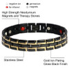Novoa Men's Quad-Element Gloss Black Stainless Steel Magnetic Bracelet With Gold Accents