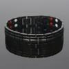Novoa Men's Quad-Element Titanium Two-Tone Gloss Black Magnetic Bracelet with Satin Accents