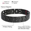 Novoa Men's Gloss Black Titanium Magnetic Bracelet