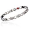 Novoa Women 's Quad-Element Titanium Silver Heart Magnetic Bracelet with Satin Accent