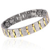 Novoa Men's Satin Titanium Magnetic Bracelet With Gold Accents