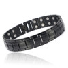 Novoa Men 's Titanium Two-Tone Black Satin Magnetic Bracelet with Polished Accents