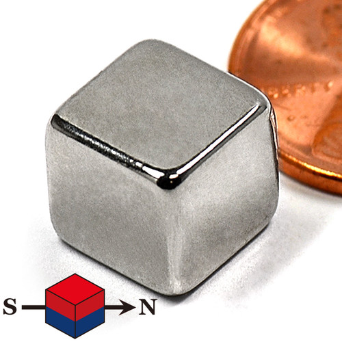 "3/8"" Neodymium Rare Earth Cube Magnet Diagonally Magnetized"