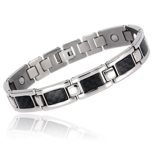 Novoa Men's Quad-Element Polished Silver Titanium Magnetic Bracelet with Carbon Fiber Inlays