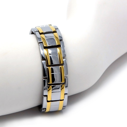 Novoa Men's Quad-Element Polished Titanium Magnetic Bracelet With Gold Accents - 12,800 Gauss TBRM-029