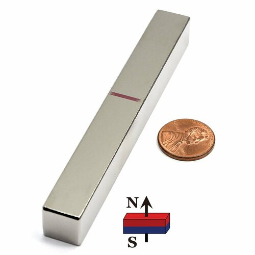 "N45 4""x1/2""x1/2"" Neodymium Rare Earth Block Magnet"