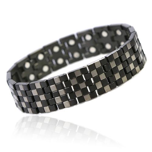 Novoa Men's Titanium Checkerboard Pattern Bracelet with 12,800 Gauss #A8602