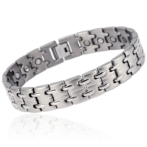 Novoa Men 's Titanium Two-Tone Satin Magnetic Bracelet with Polished Accents