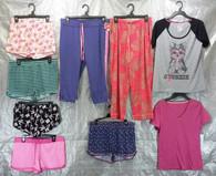 Wholesale Lot of 100 Assorted Sleep Tops Bottoms Pajamas Sleepwear Womens S-L Sizes