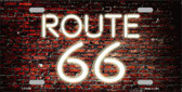 Route 66 Neon Brick Background Metal Novelty License Plate