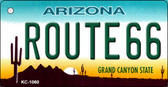 Route 66 Arizona Background Mini License Plate Metal Novelty Key Chain