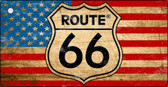 Route 66 Distressed American Flag Novelty Key Chain
