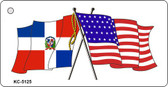 Dominican Republic USA Crossed Flags Novelty Key Chain