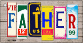 Father Wood License Plate Art Novelty Key Chain