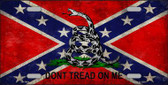 Confederate Don't Tread Novelty Metal License Plate