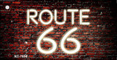 Route 66 Neon Brick Background Novelty Key Chain
