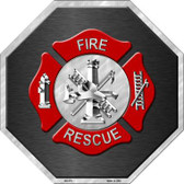 Fire Rescue Metal Novelty Stop Sign