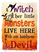 Witch Monsters Devil Metal Novelty Parking Sign