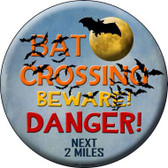 Bat Crossing Novelty Metal Circular Sign