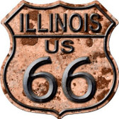 Illinois Route 66 Rusty Metal Novelty Highway Shield