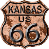 Kansas Route 66 Rusty Metal Novelty Highway Shield