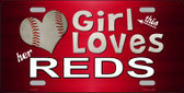 This Girl Loves Her Reds Novelty Metal License Plate